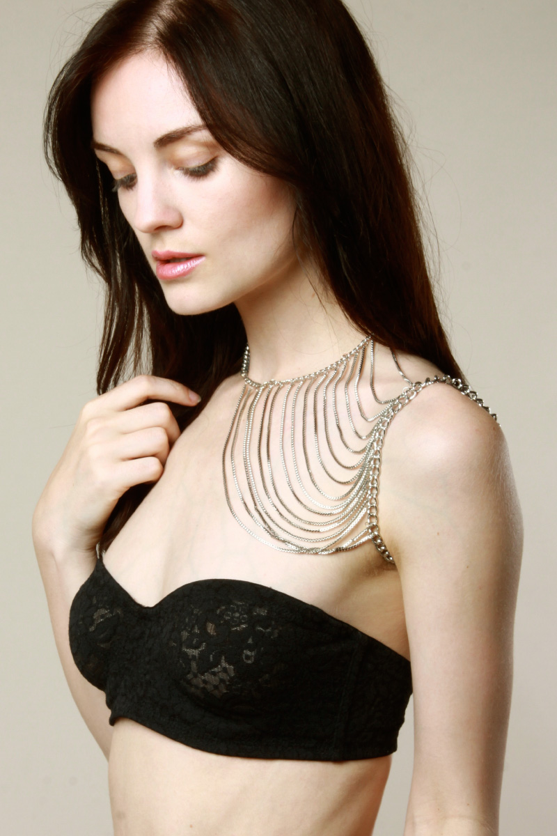 Buy it here > http://thriftedandmodern.com/one-shoulder-body-chain