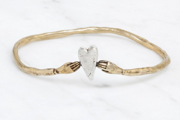 hand and heart bangle DatterIndustries - madeofjewelry