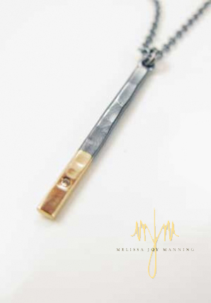 two tone bar necklace melissa joy manning - madeofjewelry