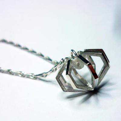 SilverHeartClusterPendant - madeofjewelry