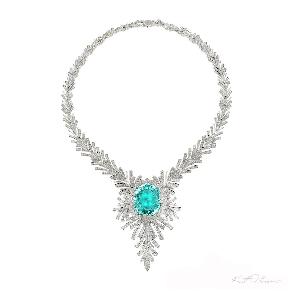 34 Grams Unique Diamond Set: Kat Florence Paraiba Tourmaline Necklace