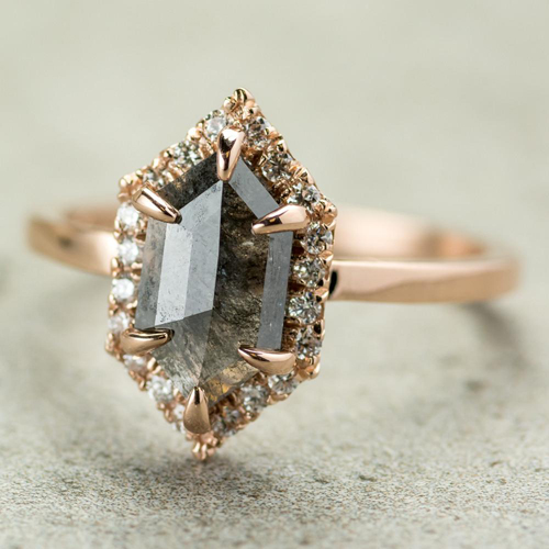 point no point studio-Grey Hexagon Halo ring-madeofjewelry