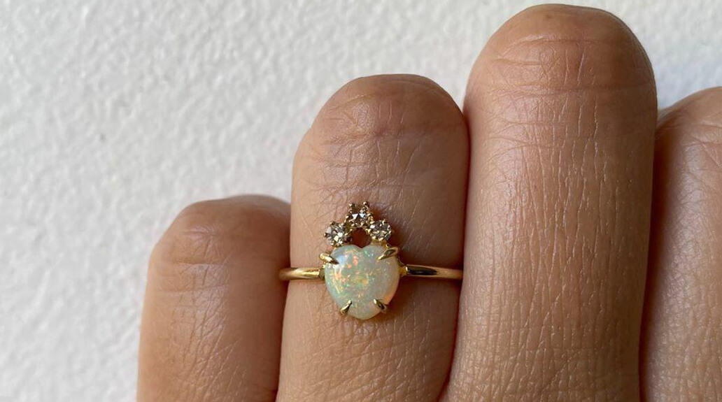Charlie and Marcelle - Opal Heart ring